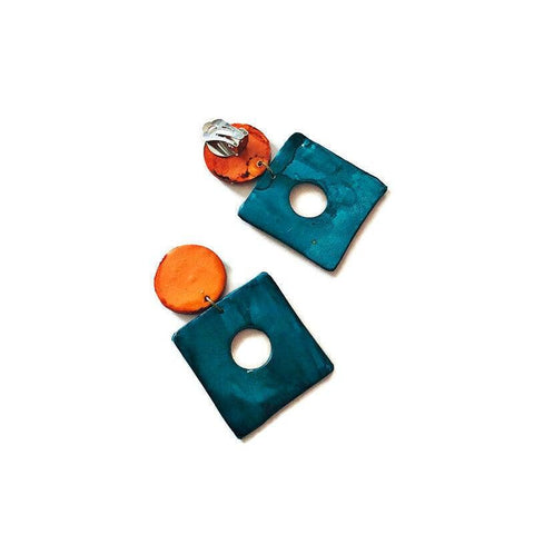 Teal & Orange Square Clip On Earrings Handmade