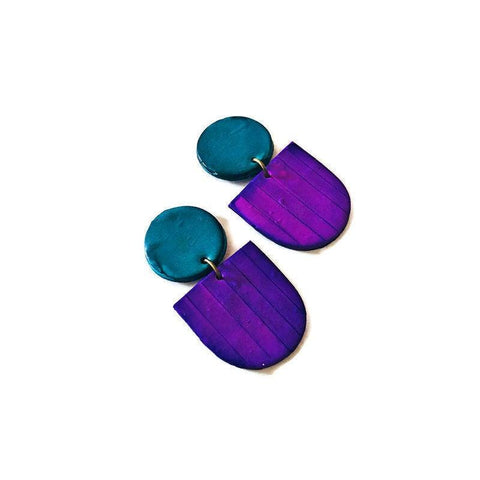 Purple & Blue Hand Painted Earrings Handmade from Polymer Clay