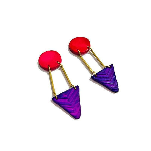 Long Clay & Brass Earrings Handmade and Painted Pink Purple