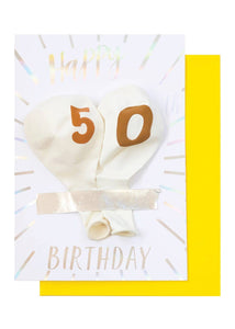 Milestone Birthday Balloon Card - 50th Birthday