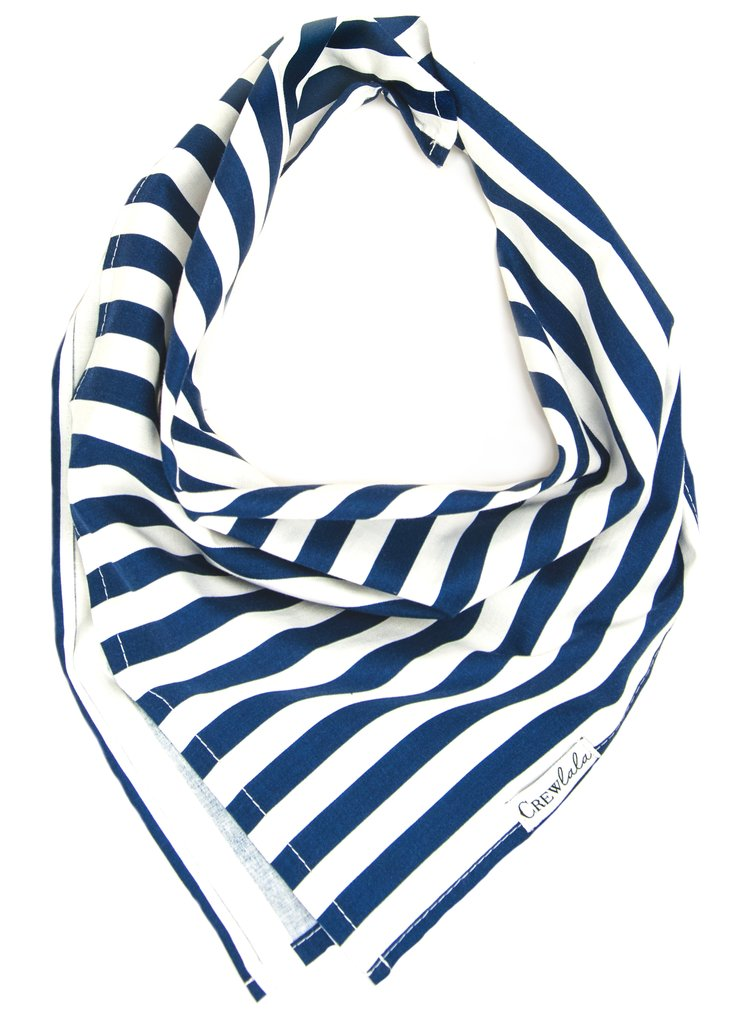 Navy and White Stripe Dog Bandana