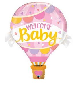 Baby Girl Hot Air Balloon Foil Balloon