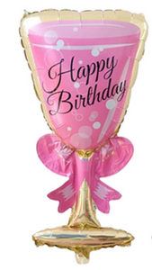 Pink Champagne Birthday Foil Balloon
