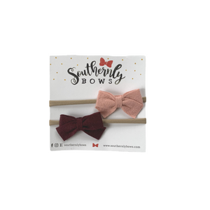 Headband Newborn Felt Bows (Set Of 2)