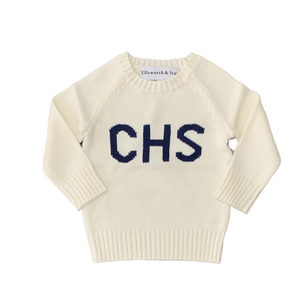 Children's CHS Sweater Ivory & Navy