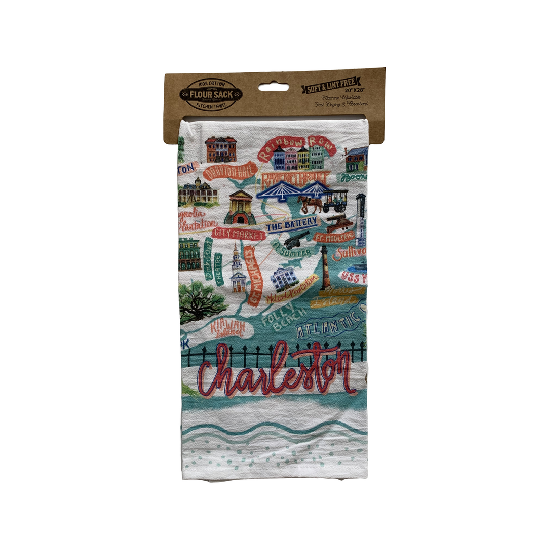 Charleston Map Tea Towel