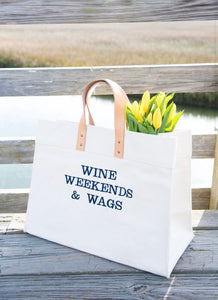 Crew Lala Wine weekend & wags canvas tote