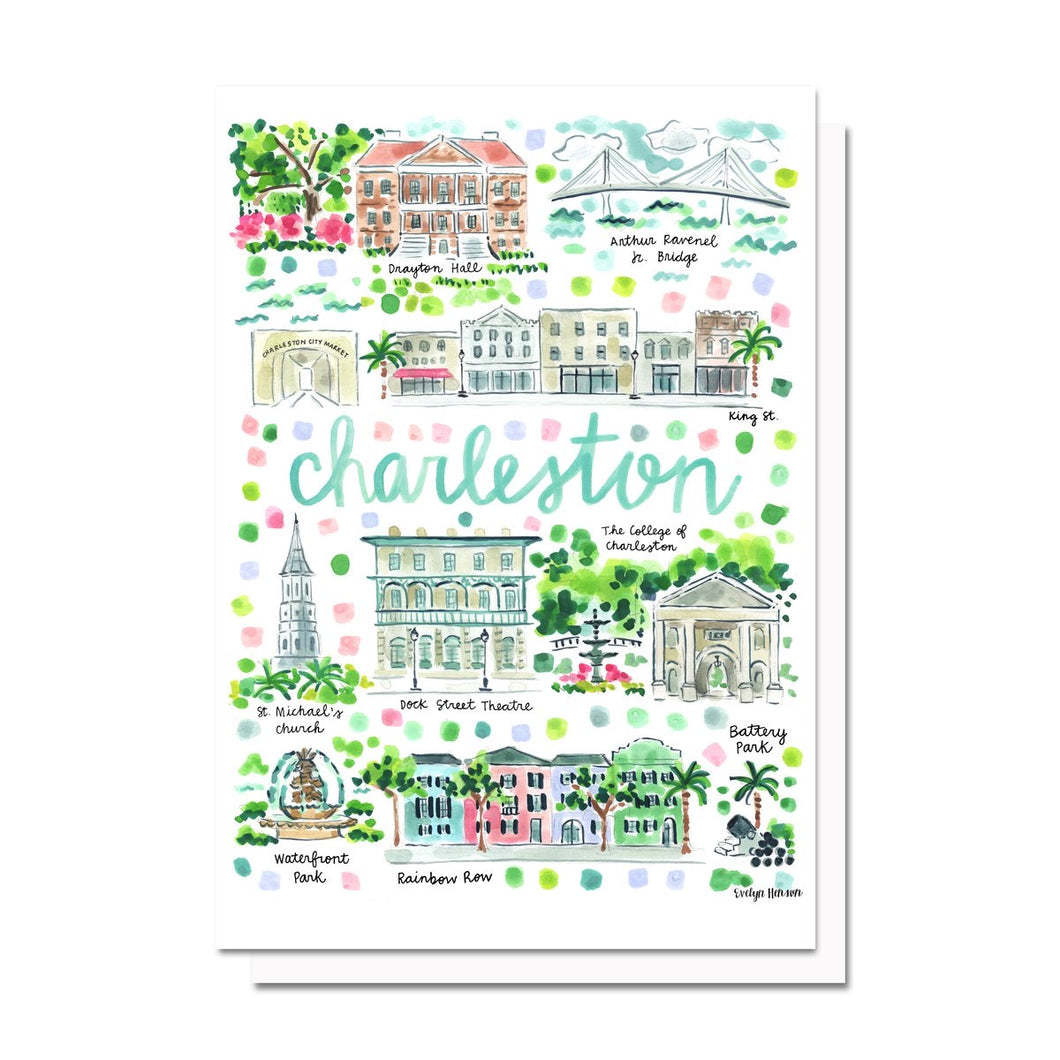 Evelyn Henson Charleston Map Notecard Set