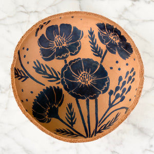 Indigo Bee Leather Bowl