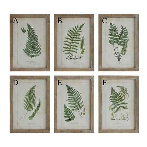 Wood Framed Wall Décor with Fern Fronds