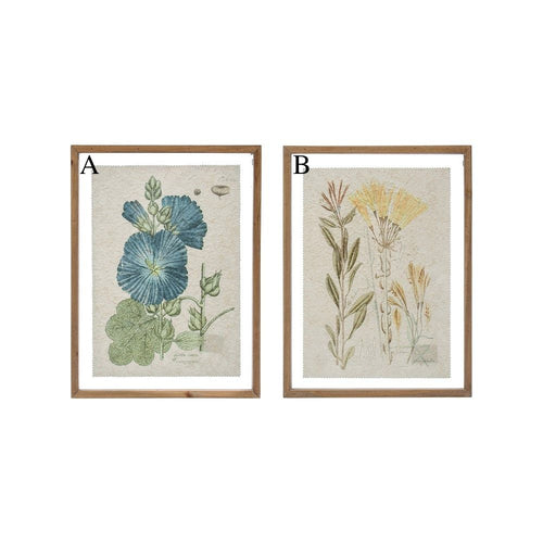Wood Framed Wall Decor with Vintage Floral Image