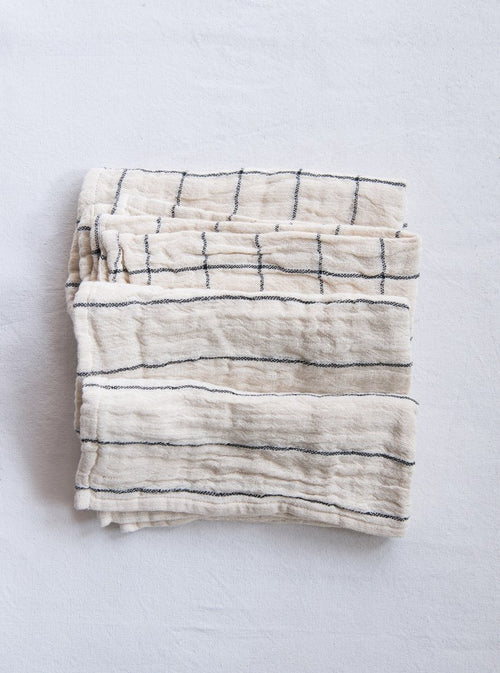 Square Woven Cotton Napkin with Plaid/Stripe
