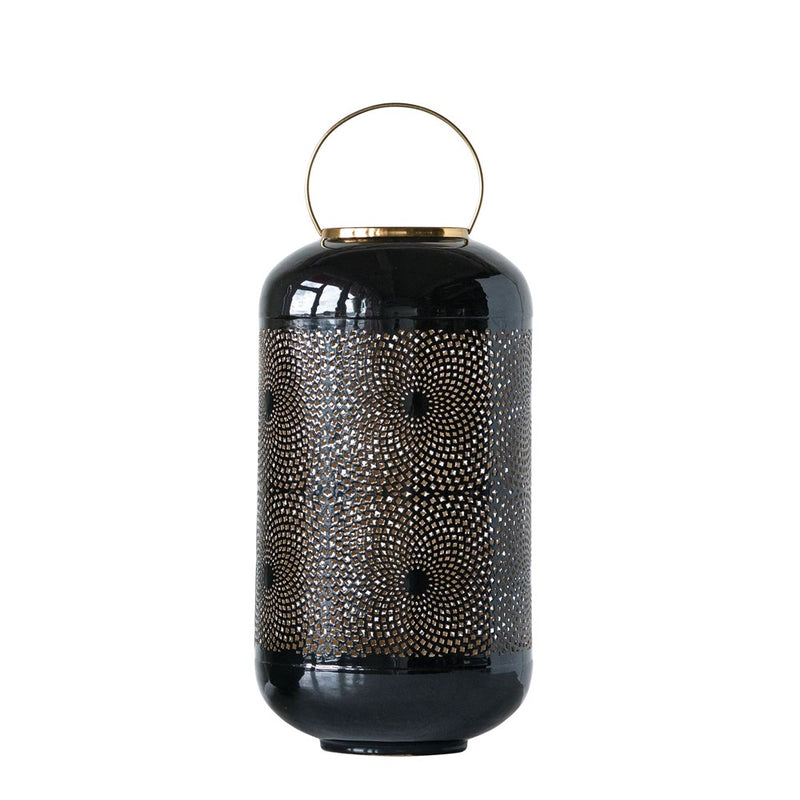Enameled Punched Lantern with Brass Handle