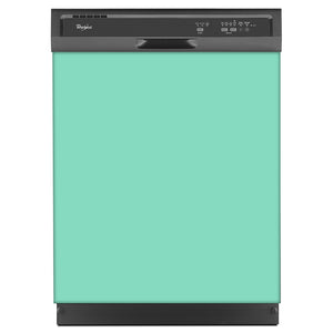 Aqua Green Color Magnet Skin on Black Dishwasher