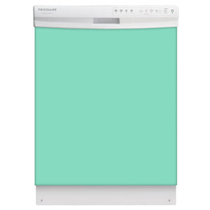 Aqua Green Color Magnet Skin on White Dishwasher