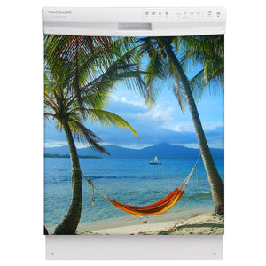 Beach Hammock Magnet Skin on White Dishwasher