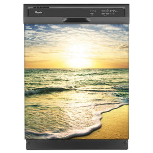 Beach Sunrise Magnet Skin on Black Dishwasher