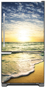 Beach Sunrise Magnet Skin on Model Type Bottom Freezer Refrigerator