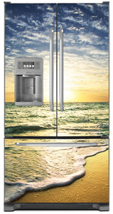 Beach Sunrise Magnet Skin on Model Type French Door Refrigerator with Ice Maker Water Dispenser