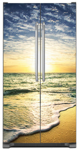 Beach Sunrise Magnet Skin on Model Type Side by Side Refrigerator