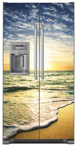 Beach Sunrise Magnet Skin on Model Type Side by Side Refrigerator with Ice Maker Water Dispenser