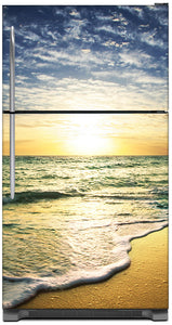 Beach Sunrise Magnet Skin on Model Type Top Freezer Refrigerator