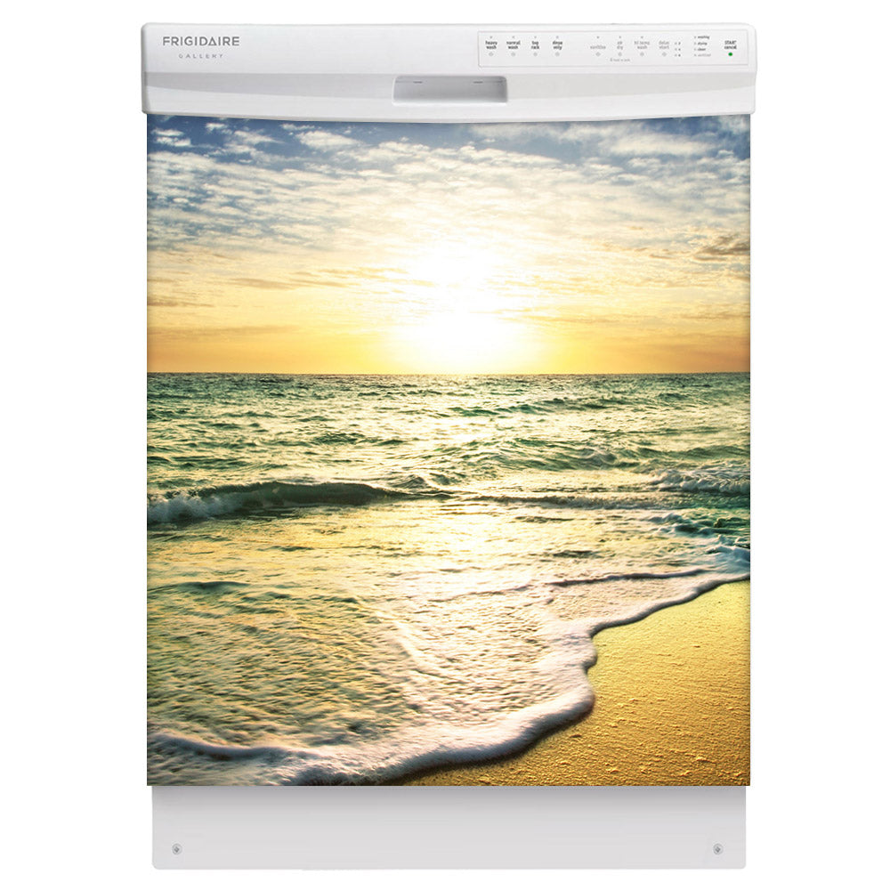 Beach Sunrise Magnet Skin on White Dishwasher