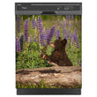 Load image into Gallery viewer, Bear Cub Smelling Flowers Magnet Skin on Black Dishwasher