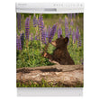 Load image into Gallery viewer, Bear Cub Smelling Flowers Magnet Skin on White Dishwasher