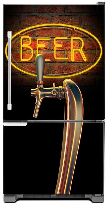 Beer Tap Magnet Skin on Model Type Bottom Freezer Refrigerator