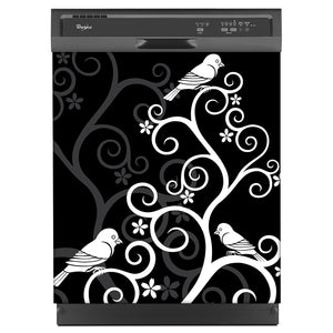Birds On Swirls Magnet Skin on Black Dishwasher