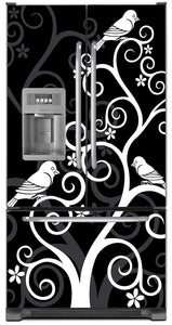 Birds On Swirls Magnet Skin on Model Type French Door Refrigerator with Ice Maker Water Dispenser