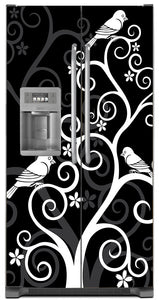 Birds On Swirls Magnet Skin on Model Type Side by Side Refrigerator with Ice Maker Water Dispenser