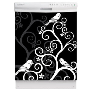 Birds On Swirls Magnet Skin on White Dishwasher