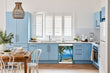 Load image into Gallery viewer, Breakfast table in kitchen with white walls, blue cabinets, marble countertop large window over sink area beach hammock magnet skin on dishwasher white control panel