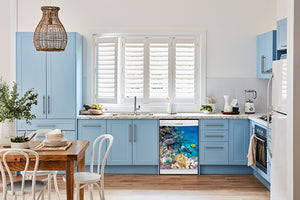 Breakfast table in kitchen with white walls, blue cabinets, marble countertop large window over sink area coral reef fish magnet skin on dishwasher white control panel
