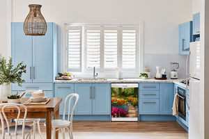 Breakfast table in kitchen with white walls, blue cabinets, marble countertop large window over sink area flower path magnet skin on dishwasher white control panel