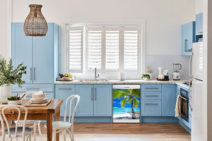 Breakfast table in kitchen with white walls, blue cabinets, marble countertop large window over sink area perfect palm tree magnet skin on dishwasher white control panel