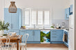 Load image into Gallery viewer, Breakfast table in kitchen with white walls, blue cabinets, marble countertop large window over sink area rapids country magnet skin on dishwasher white control panel