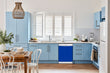 Load image into Gallery viewer, Breakfast table in kitchen with white walls, blue cabinets, marble countertop large window over sink area royal blue magnet skin on dishwasher white control panel
