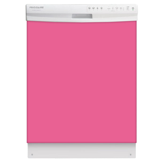 Bubble Gum Pink Color Magnet Skin on White Dishwasher