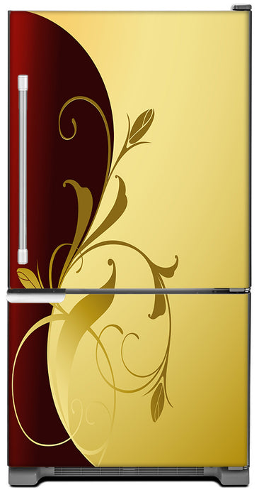 Burgundy Gold Leaf Magnet Skin on Model Type Bottom Freezer Refrigerator