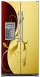 Load image into Gallery viewer, Burgundy Gold Leaf Magnet Skin on Model Type Side by Side Refrigerator with Ice Maker Water Dispenser