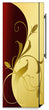 Load image into Gallery viewer, Burgundy Gold Leaf Magnet Skin on Side of Refrigerator