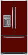 Load image into Gallery viewer, Burgundy Maroon Color Magnet Skin on Model Type French Door Refrigerator with Ice Maker Water Dispenser