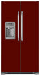 Load image into Gallery viewer, Burgundy Maroon Color Magnet Skin on Model Type Side by Side Refrigerator with Ice Maker Water Dispenser