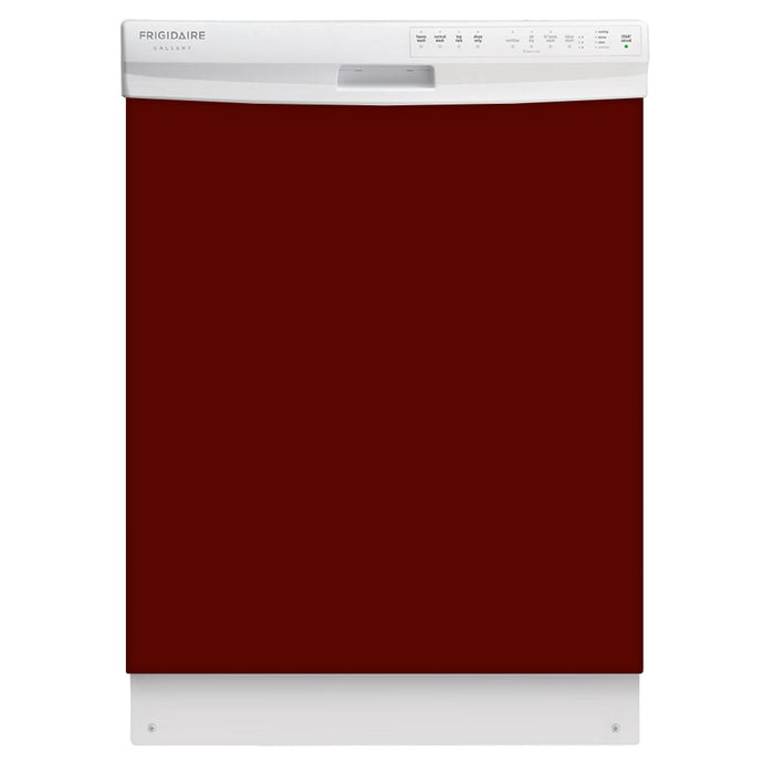 Burgundy Maroon Color Magnet Skin on White Dishwasher