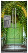 Load image into Gallery viewer, Cozy Cottage Green Door Magnet Skin on Model Type Side by Side Refrigerator with Ice Maker Water Dispenser