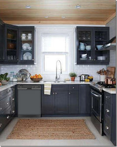 Dark Gray Kitchen Cabinets with White Marble Countertop Against White Walls Window Behind Sink Battleship Gray Magnet Skin on Dishwasher Black Control Panel