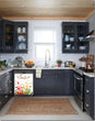 Load image into Gallery viewer, Dark Gray Kitchen Cabinets with White Marble Countertop Against White Walls Window Behind Sink Market Fresh Magnet Skin on Dishwasher Black Control Panel